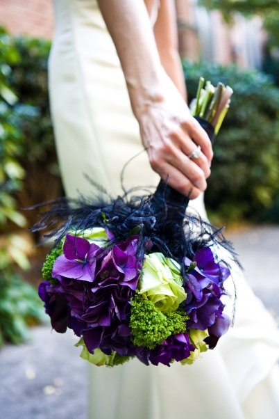 Purple calla lily and green roses wedding bouquet flowers - The ...