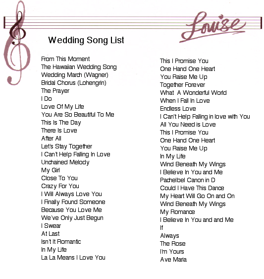 Music list for wedding music list for wedding wedding reception planning checklist printable music free ideas solutioingenieria Image collections