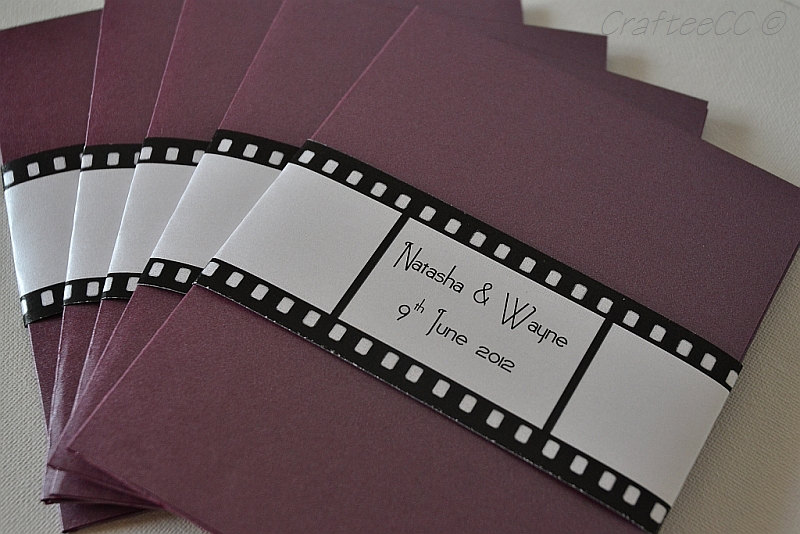 Hollywood movie themed wedding invitation