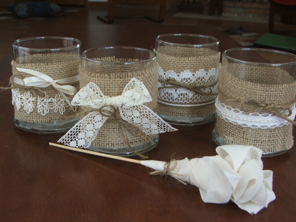 Wedding candle lace rustic sleeves