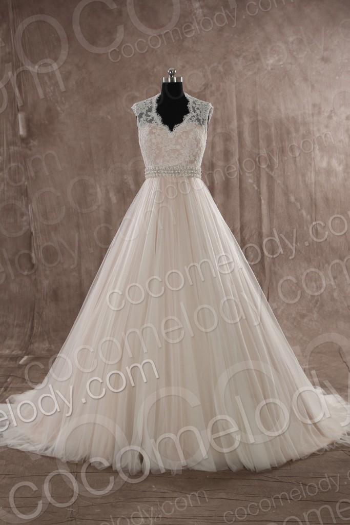Classic A-line V-neck Natural Train Tulle Ivory Sleeveless Zipper With Button Wedding Dress with Sashes