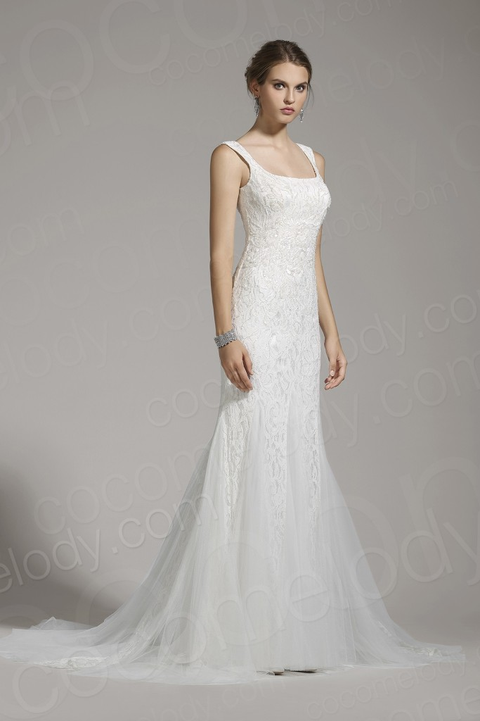 Luxurious Trumpet-Mermaid Square Lace Ivory Sleeveless Wedding Dress with Beading and Sequin