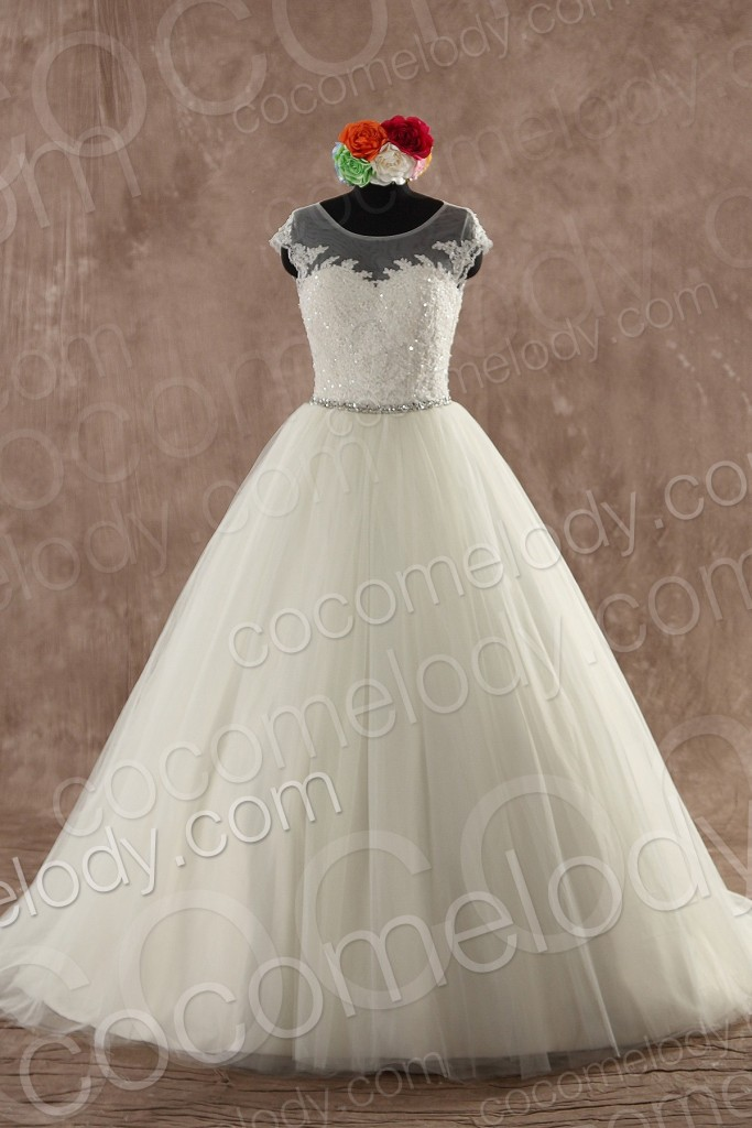 Classic A-Line Illusion Natural Sweep-Brush Train Tulle Ivory Sleeveless Zipper With Button Wedding Dress with Sashes and Crystals