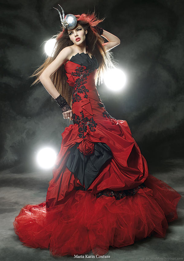 Black and Red Wedding Gown - The Wedding SpecialistsThe Wedding ...