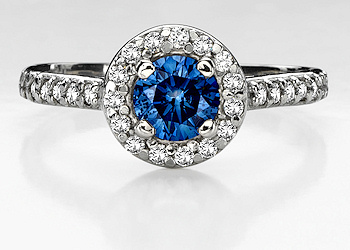 while women might opt for a pink diamond wedding ring - Blue Diamond Wedding Ring