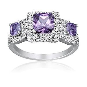 Purple Diamond Wedding Rings