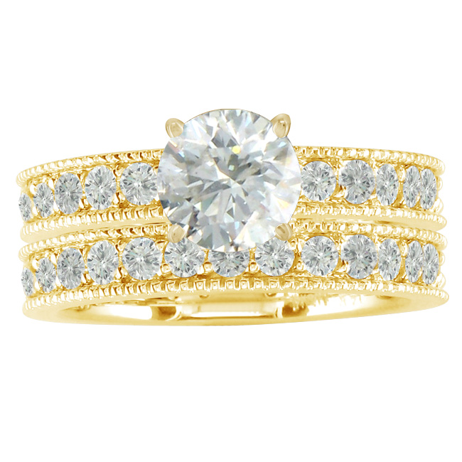 yellow gold ring bridal sets - Bridal Set Wedding Rings