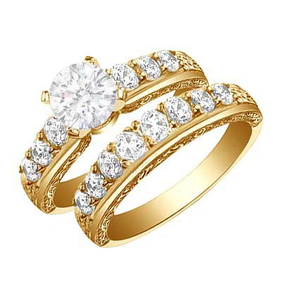 Bridal Set Wedding Rings in Yellow Gold The Wedding SpecialistsThe